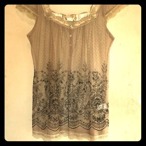 Sheer lace babydoll type blouse
